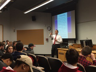 Dr Stu Katzen does a Student Recruitment Event on November 6 at Temple in front of over 160 students.