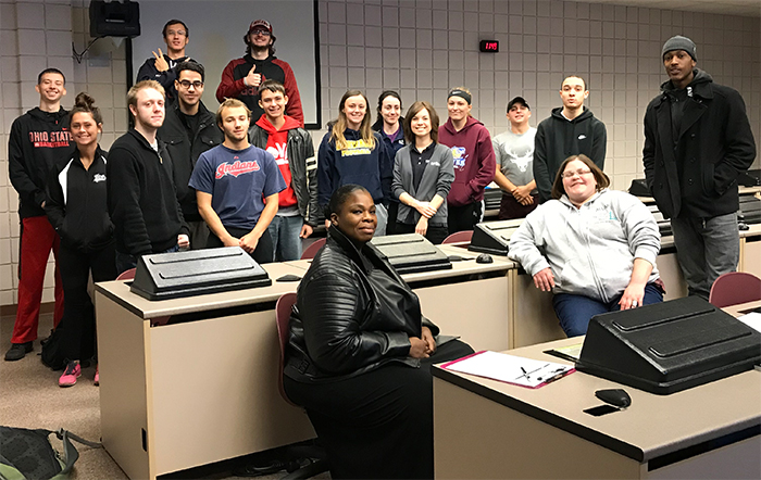 Drs. Anthony and Casen DeMaria have the opportunity to speak with students from Lorain County Community College